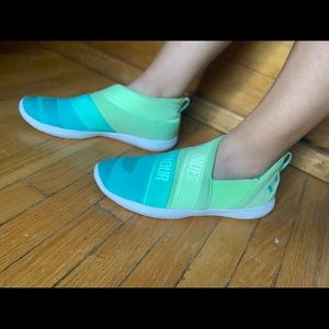 Under Armour green to teal ombré sneakers